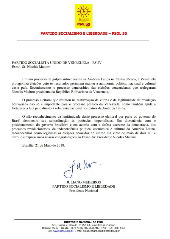Comunicado_PartidoSocialismoELiberdade-PSOL50_Reelección_Maduro
